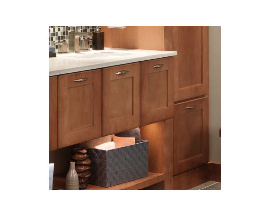 Refrigerator Cabinets - Creative use of this traditional kitchen cabinet provides the opportunity to create open storage space in the bathroom, with plenty of room for towels, toiletries, hairdryers, and other personal items.