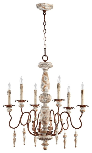 "Traditional Quorum La Maison 28"" Wide 6-Light Manchester Grey Chandelier traditional chandeliers"