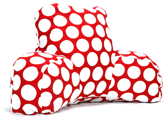 Indoor Red Hot Large Polka Dot Reading Pillow contemporary-decorative-pillows