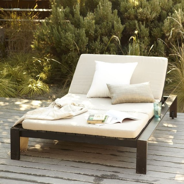 Wood Slat Double Lounger Modern Outdoor Chaise Lounges by West Elm