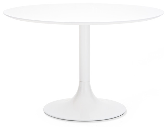 White lacquer dining table round - White Lacquered Corona 120 Round Table White Glass