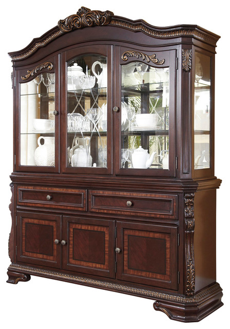 Wendlowe Classic China Display Cabinet in Dark Cherry - Traditional - Buffets And Sideboards ...