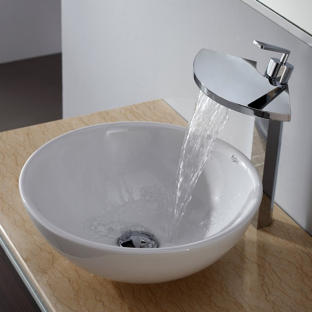 White Faucet Bathroom : White Round Ceramic Sink and Fantasia Faucet - Modern - Bathroom Sinks ...