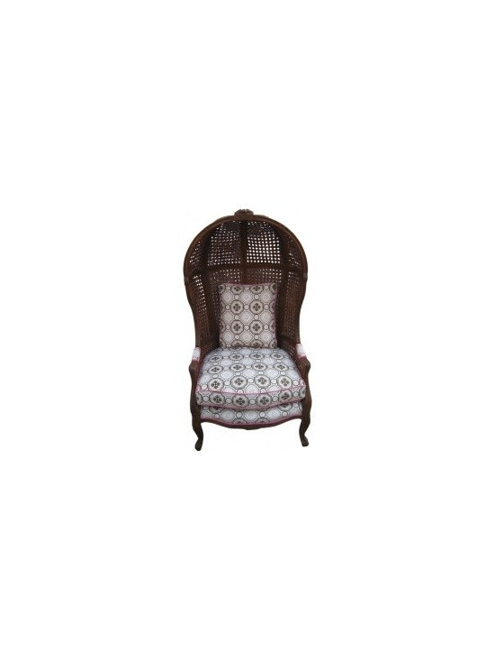 Eco Friendly Furniture and Lighting - Unknown Mid-20th century A vintage hood or canopy chair with wood frame wrapped in caning. Upholstery is new. Seat cushion is feather and down blend. Fabric is Tony Duquette for Jim Thompson.