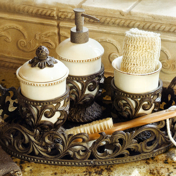 The GG Collection Vanity Set 3 Piece Mediterranean Bathroom Accessories