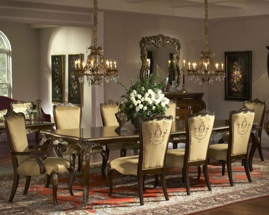 AICO Furniture - Imperial Court 9 Piece Dining Table Set - 79000 - 9Set - Set includes Dining Table, 6 Side Chairs and 2 Arm Chairs