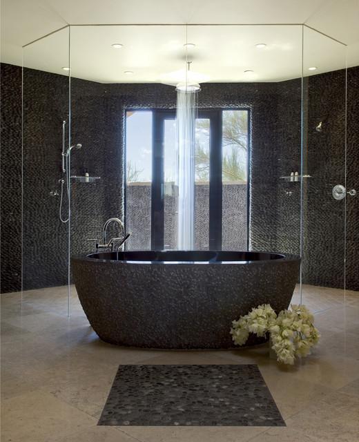 Island Stone Medan Charcol Stack Pebble Bath and Wall - Modern - Tile ...