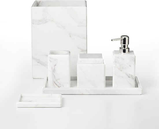 Waterworks studio 39 white marble 39 bath accessories modern for Marble bathroom accessories