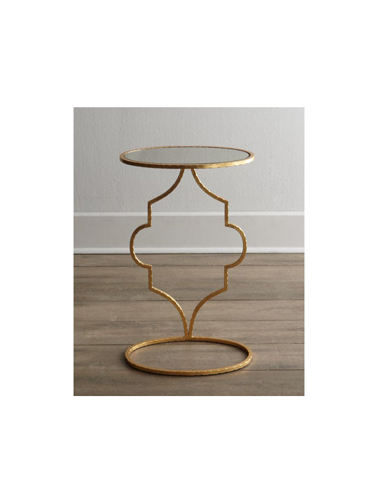 """Horchow - Floating Arabesque Side Table - Barely there side table features an antiqued mirror top """"floating"""" on an arabesque-design base to bring a bit of Moroccan flair to the room Made of welded iron and antiqued mirror. Antiqued gold-leaf finish. 16""""W x 10""""D x 26""""T. Imported. Boxed wei..."""