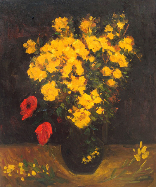van gogh vase with viscaria poppy flowers modern