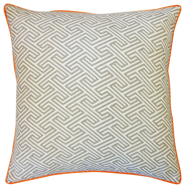 Orange And Gray Decorative Pillows : Inca Passage Grey Orange Pillow - Contemporary - Decorative Pillows - by Jiti