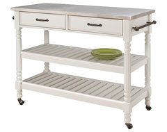 Home Styles Savannah Stainless Steel Kitchen Cart transitional-kitchen-islands-and-kitchen-carts