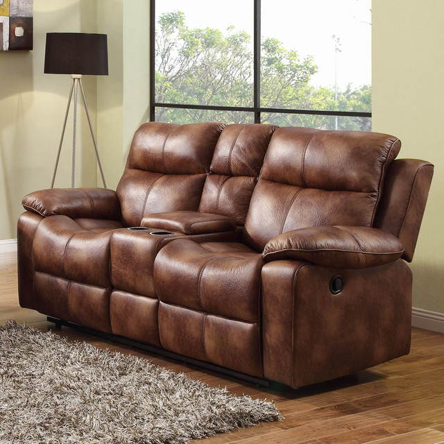 Homelegance Brooklyn Heights Double Glider Reclining Loveseat W Center Console Traditional