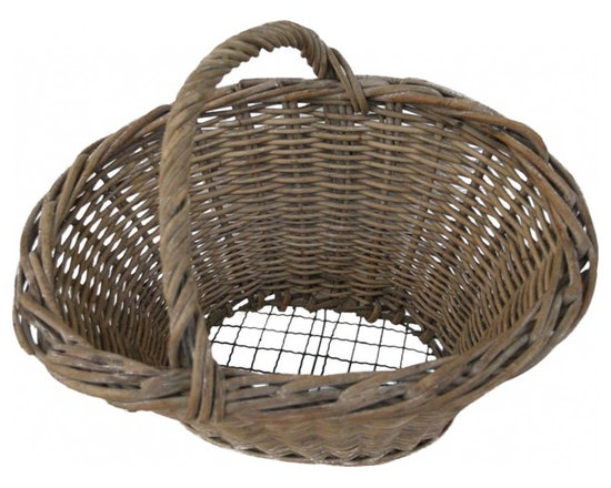 French Wire Bottom Basket - A rare find gathering basket ... It's wicker with a wire bottom, so loose, dirt from freshly picked vegetables, could sift through the bottom while picking. Wonderful condition showing desirable signs of a time worn piece.