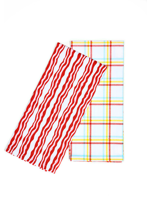 Bacon n' Eggs Collection - Bacon - Two Tea Towels contemporary-dish-towels