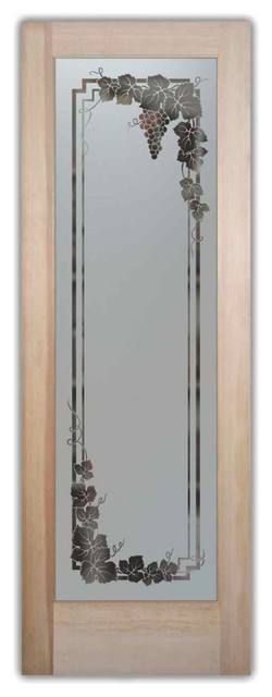 Pantry Door - Vineyard Grapes Garland Glass, 24 X 1.375 X 80 - Traditional - Pantry And Cabinet ...