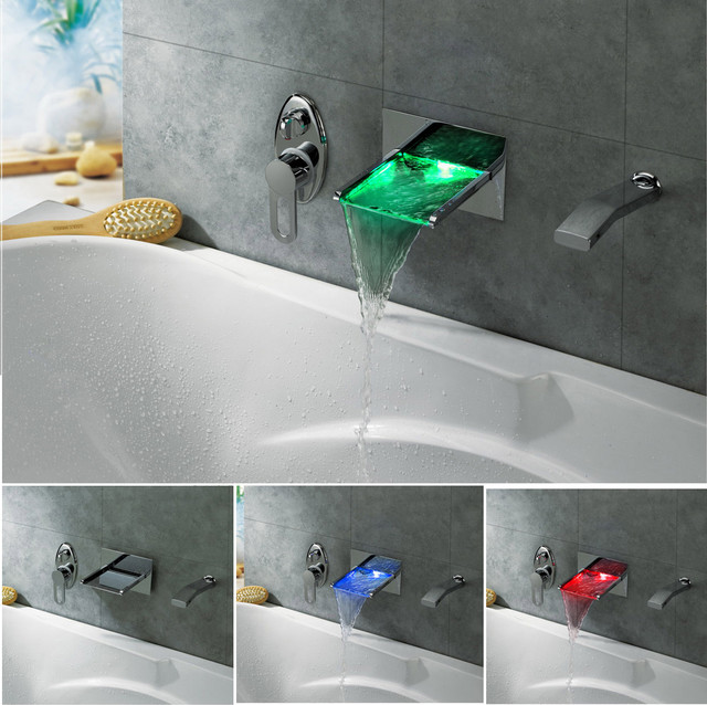 Led Color Changing Waterfall Wall Mounted Bath Tub Filler