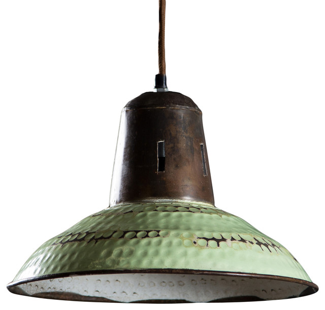 Goshen Hanging Lamp Vintage Green Farmhouse Pendant Lighting by C G S
