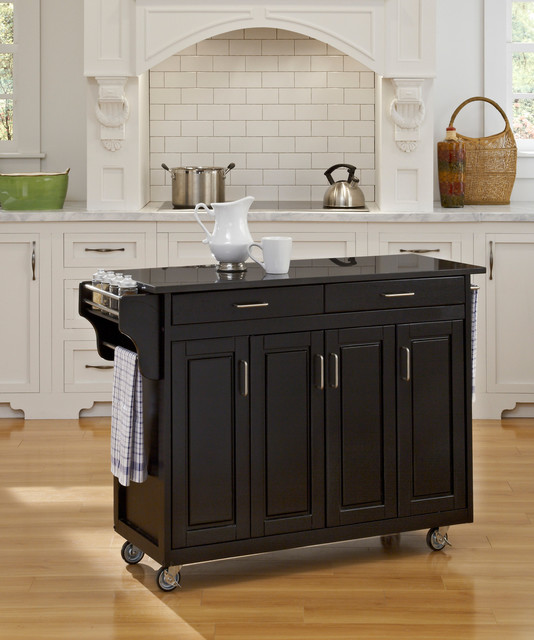 'Create-a-Cart' Black Finish Black Granite Top Cart contemporary-kitchen-islands-and-kitchen-carts