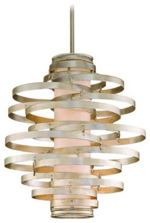 Corbett Vertigo Collection 3-Light Silver Pendant Chandelier eclectic-chandeliers