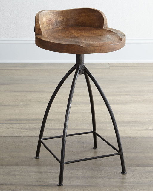 Arteriors Wooden Bar Stool Eclectic Bar Stools And