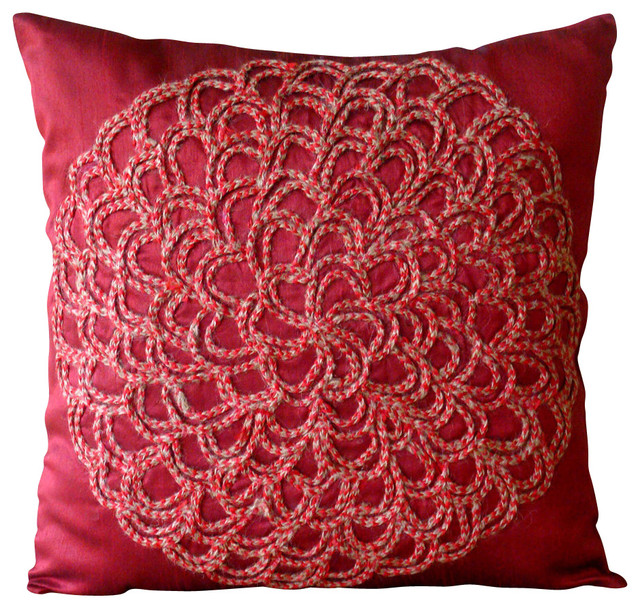 Blossoming Decorative Deep Red Silk Throw Pillow Cover, 24x24 contemporary-bed-pillows