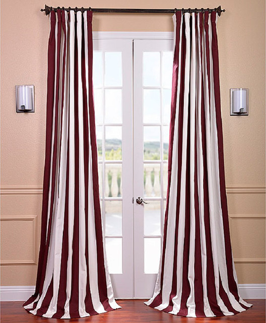 Cabana Burgundy Stripe Cotton Curtain Panel Contemporary