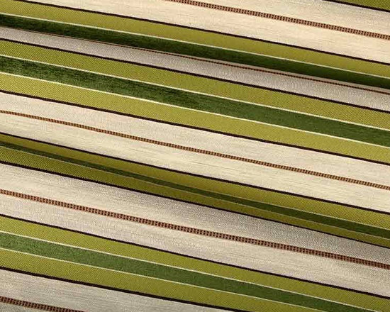 Palladia Stripe Upholstery Fabric in Spring Green - Palladia Stripe Upholstery Fabric in Spring Green has a textured base that combines a green chenille stripe that creates depth and dimension. Ideal for upholstery projects or accent pillows. Made from a blend of 30% cotton, 50% rayon, and 20% polyester. Passes NFPA 260 and 60,000 double rubs on the Wyzenbeek abrasion test. Width: 57″