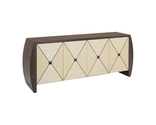 """Eco Friendly Furnture and Lighting - Adolphus 11 Buffet.The softly bowed ends and raised pyramid shaped door medallions on the Adolphus II combine to create a heightened sense of three-dimensionality to this design. This is accentuated by the use of diamond matched veneers on the door faces, which creates a classic """"X"""" element with the contrasting purfling inlay. The top is available in bookmatched or diamond matched veneer patterns. Woods used in the buffet as shown in the photo are Sycamore and Wenge. Woods typically used in the creation of this design are FSC certified as being derived from sustainable sources. This is verified by independent third party audits under Smartwood certificate #SW-COC-000055. All glues used are non-UF (urea formaldehyde) while the water based finish is low-VOC (volatile organic compound) and is doctor recommended even for those with chemical sensitivities. It is for these reasons that this design is Greenspec listed at www.buildinggreen.com The Adolphus Buffet is also consistent with the sustainability standards set out by the U.S. Green Building Council's stringent LEED (Leadership in Energy and Environmental Design) program, namely the MR-7 Credit for certified wood use; the EQ Credit 4.1 for Low Emitting Solvents and Materials; and the EQ Credit 4.2 for Low Emitting Materials, Paints and Coatings."""