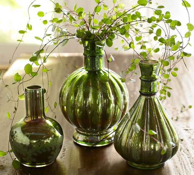 Green Mercury Glass Bud Vases Traditional Vases By
