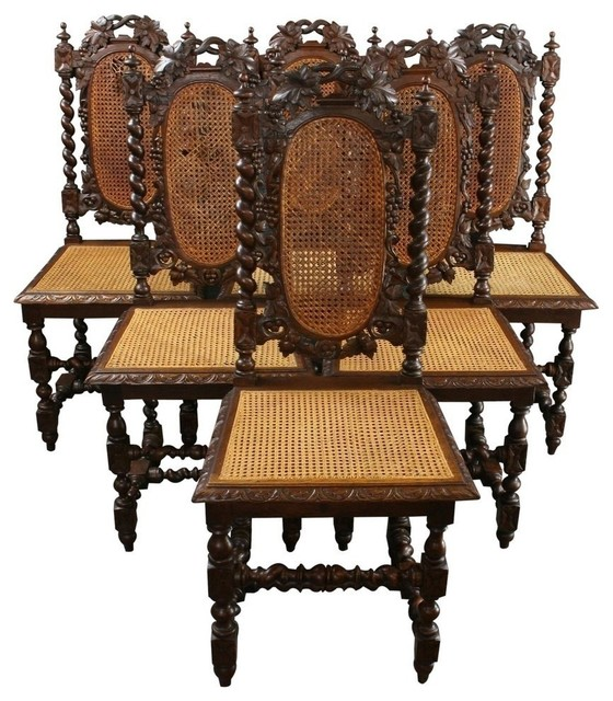 6 Consigned Antique Dining Chairs 1880 French Hunting traditional-dining-chairs