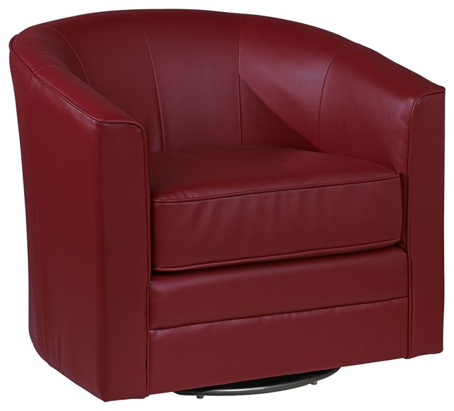Contemporary keller scarlet bonded leather swivel tub for Leather swivel tub chair