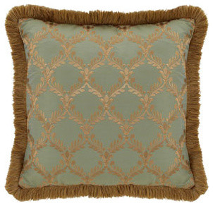 """Dian Austin Couture Home Roma Pillow with Fringe, 20""""Sq. traditional-bed-pillows-and-pillowcases"""