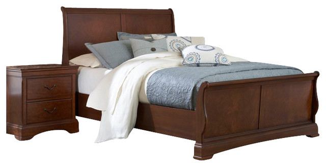 Broyhill Rhone Manor Sleigh Bed 4 Piece Bedroom Set In Toffee Transitional Beds By Cymax
