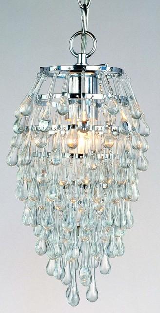 "AF Lighting 8122-1H Elements Series ""Crystal Teardrop"" Chandelier contemporary-chandeliers"