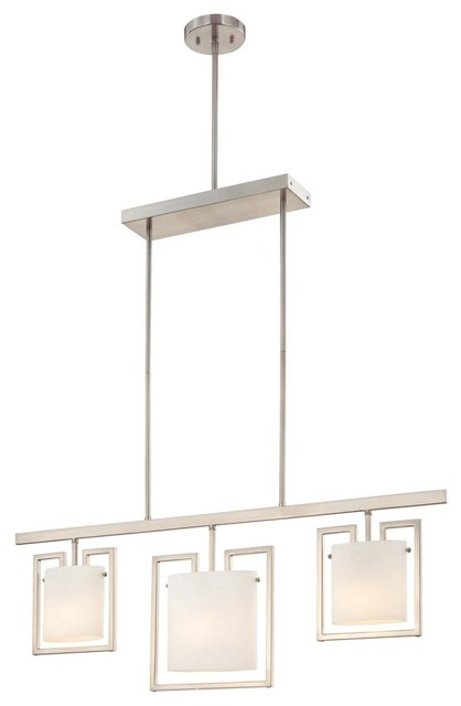 George Kovacs by Minka P834-084 3-Light Island Light - Brushed Nickel - 39W in. modern-ceiling-lighting