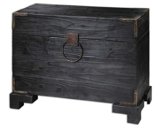 Uttermost - Uttermost Carino Wooden Trunk Table - Wooden Trunk Table belongs to Carolyn Kinder Collection by Uttermost Black Satin, Solid Fir Wood With Natural Knots And Deep Grains With Copper Brown Metal Accents. Non-latching Top With Safety Hinges. Generous Storage Inside. Accent Table (1)