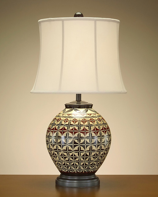 hand painted ebony red and ecru porcelain lamp contemporary lamp. Black Bedroom Furniture Sets. Home Design Ideas