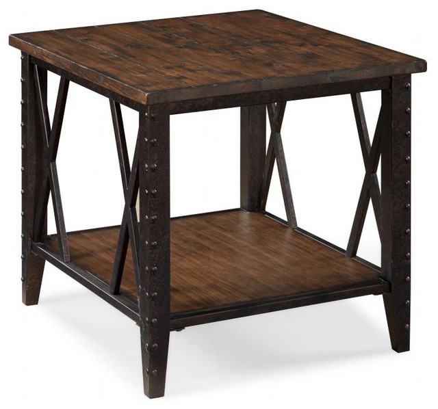 Fleming Wood and Metal Rectangular End Table contemporary-side-tables-and-end-tables