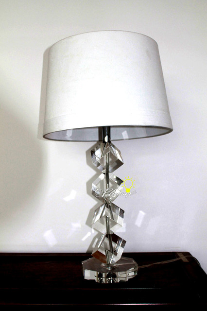 modern fabric crystal table lamp contemporary lamps ball set vintage ebay antique baccarat