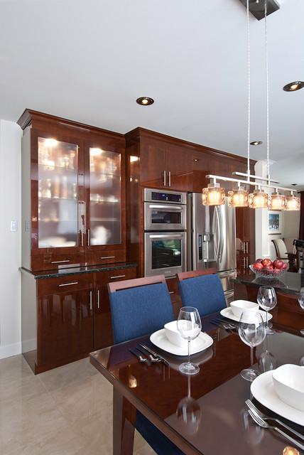 MODERN HIGH GLOSS WOOD KITCHEN & HUTCH contemporary-kitchen