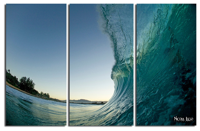 Nicola Lugo 'Waves'  20x48-inch Canvas Wall Art (3-piece Set) beach-style-prints-and-posters