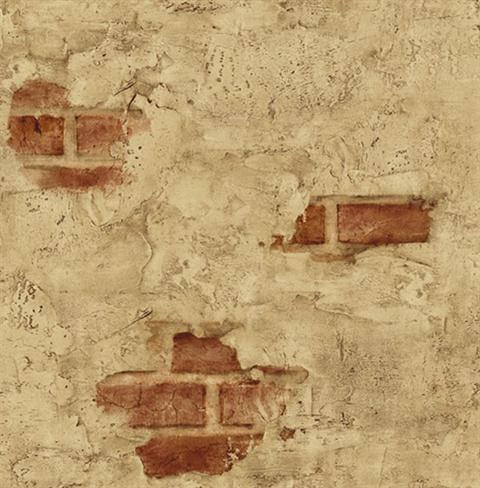 Plastered Exposed Brick Wallpaper - Mediterranean - Wallpaper ...