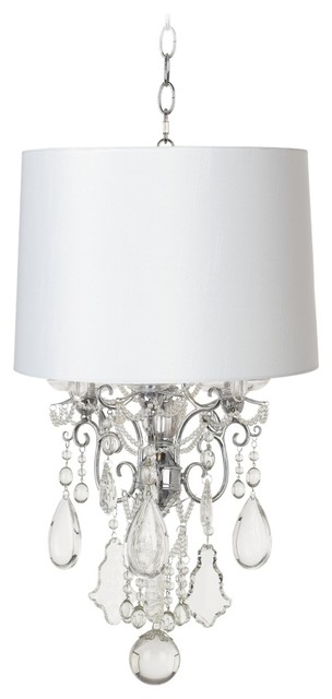 Crystal Belle of the Ball Designer White Shade Mini Chandelier contemporary-chandeliers