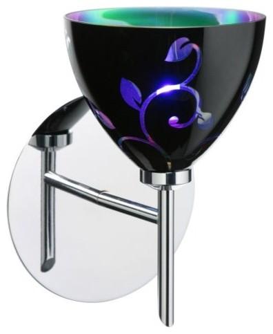 Besa 1SW-5440VB-PN Black Dicro Vine Sabrina Wall Light - 5W in. Polished Nickel contemporary-wall-lighting