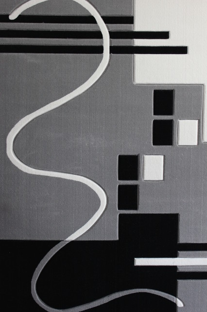 3 piece grey  black  white living room area rugs set