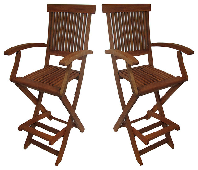 Set of 2 Wooden Counter Height Folding Chairs with Arm and Footrest Bar Stool