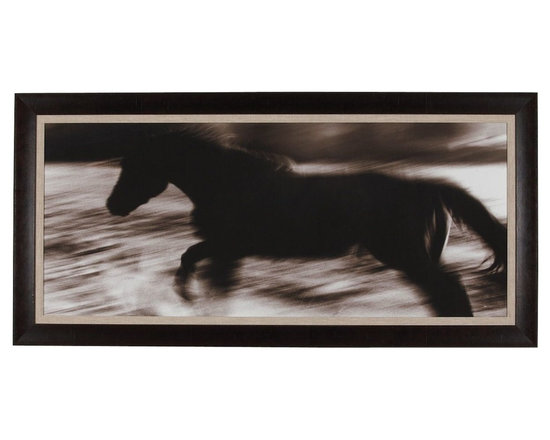 Ethan Allen - Sea Spirit - A mustang in the wild is captivating as it frolics across the plains in this gicl?e by photographer Dona Bollard that is exclusive to Ethan Allen. She and her husband have been photographing wild mustangs for more than 20 years. The varied sepia tones in the work inspired the wide, plank-style frame and matting with a natural linen liner, which softens the photograph's perimeter.