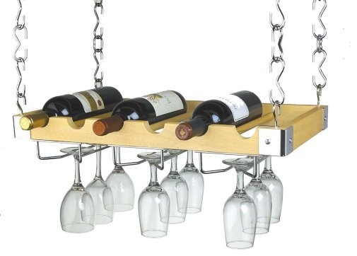 Ceiling or Wall Mount Wooden Wine Rack contemporary-wine-racks
