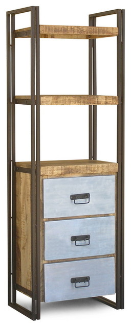 Reclaimed wood tall rack with metal drawers eclectic for Reclaimed wood furniture san francisco